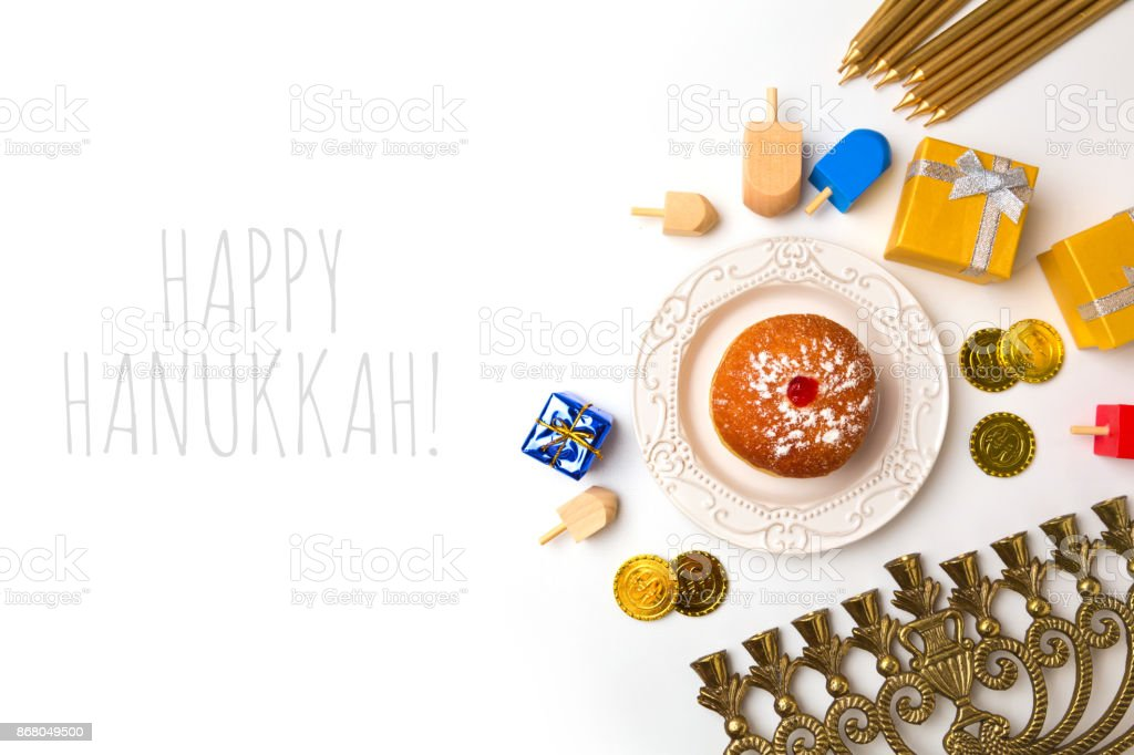 Hanukkah holiday objects on white background. View from above stock photo
