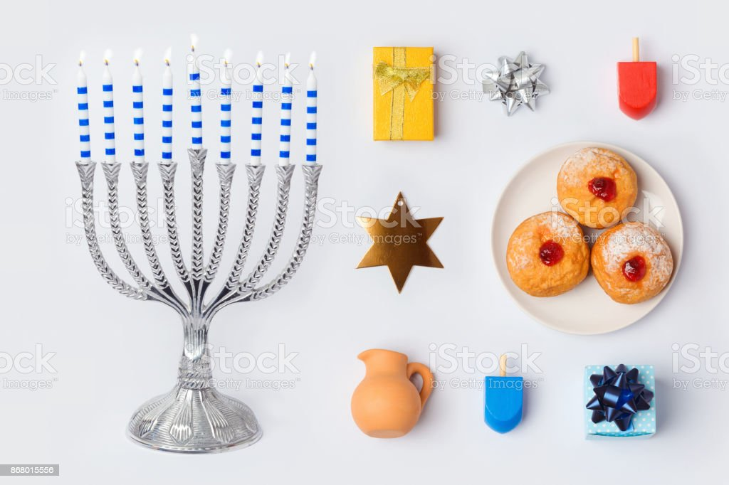 Hanukkah menorah and objects for mock up template design.View from above. Flat lay stock photo