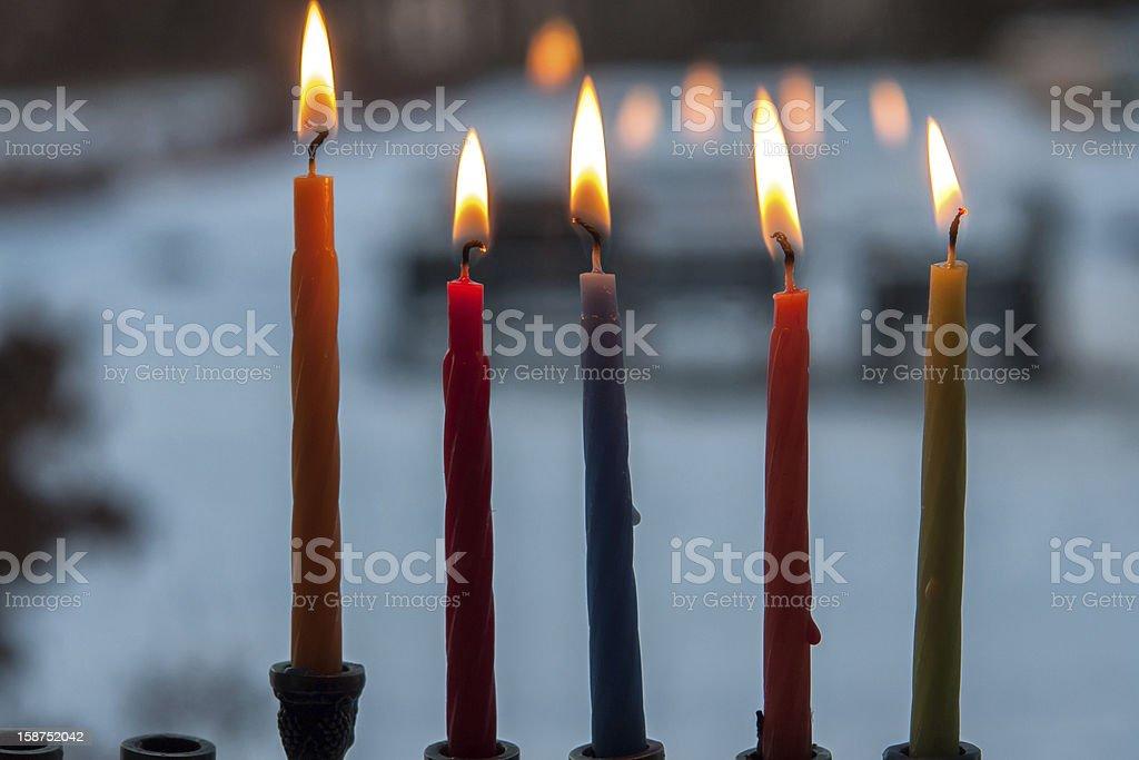 Hanukkah menorah chanukkiah with candles royalty-free stock photo