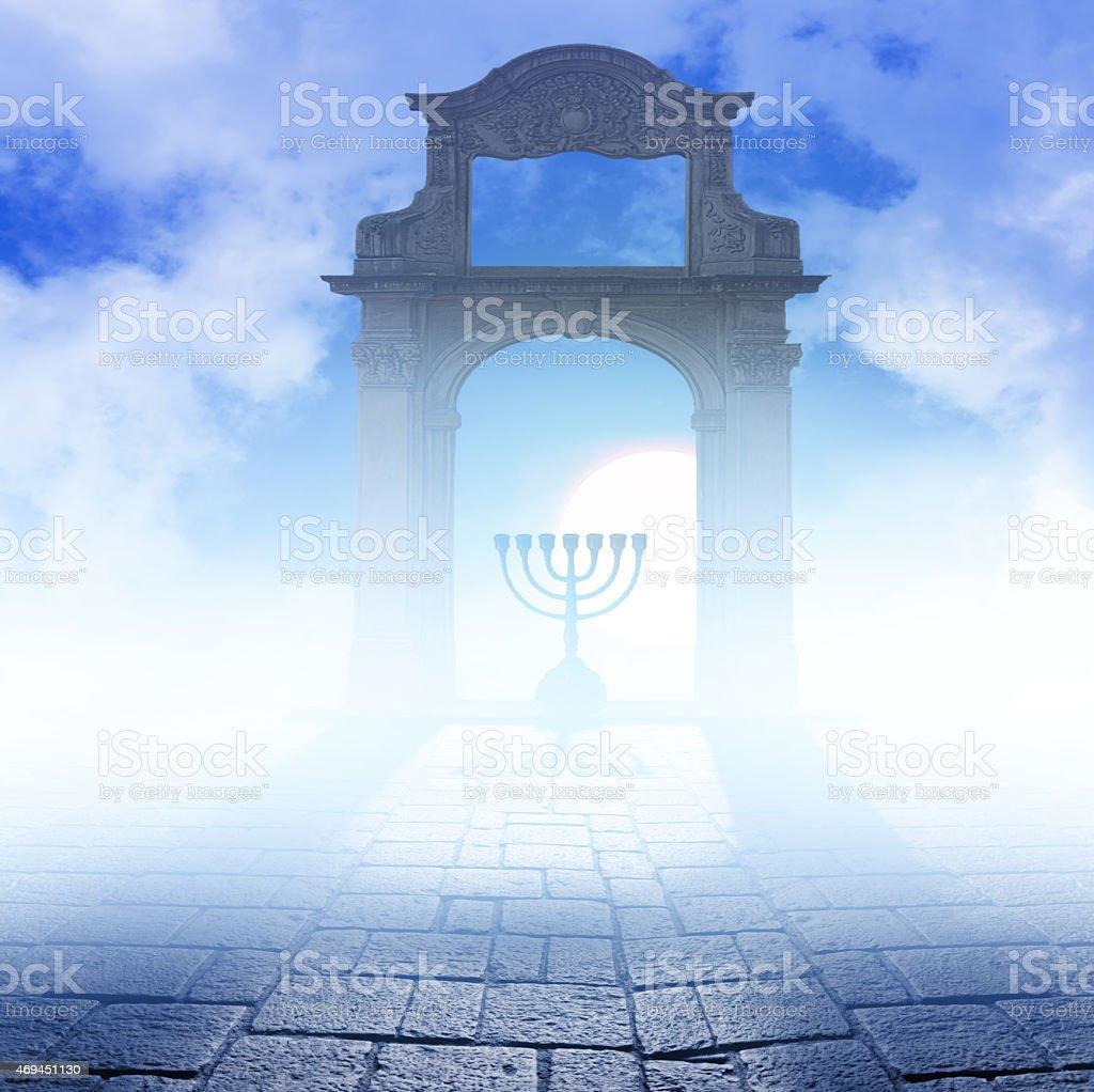 Hanukkah Menorah on art background stock photo