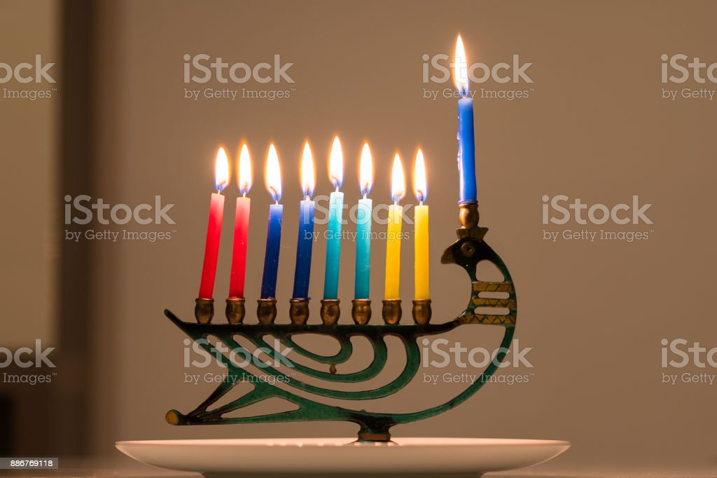 A Hanukkah menorah stock photo