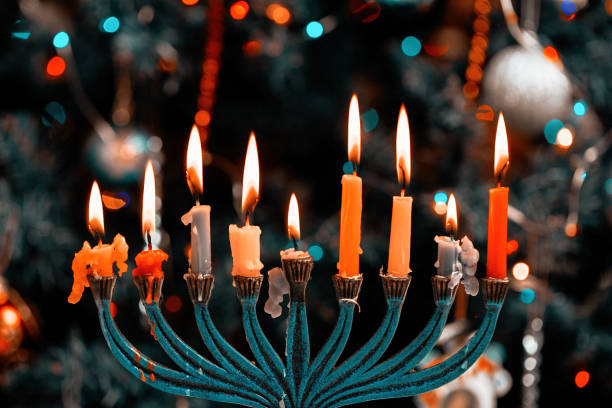 Hanukkah menorah with burning candles Jewish holiday Hanukkah menorah with burning candles religious symbol stock pictures, royalty-free photos & images