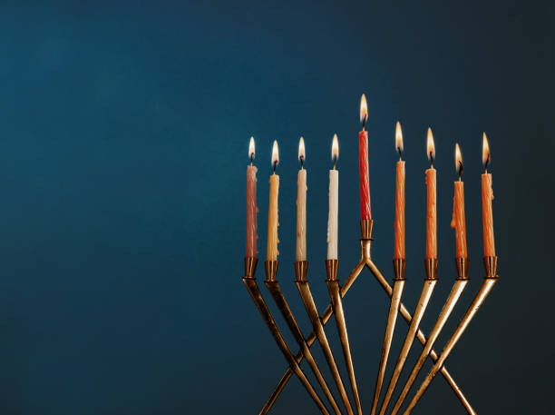 hanukkah menorah with candles for chanukah celebrationon black background - hanukkah stock pictures, royalty-free photos & images