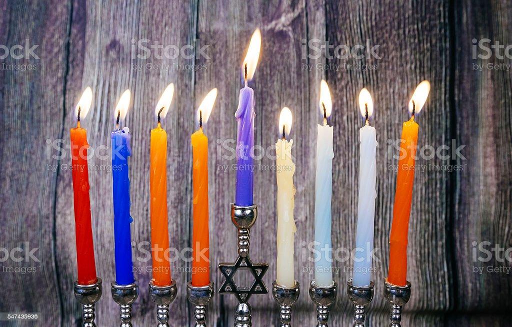 Hanukkah menorah with candles happy burning stock photo