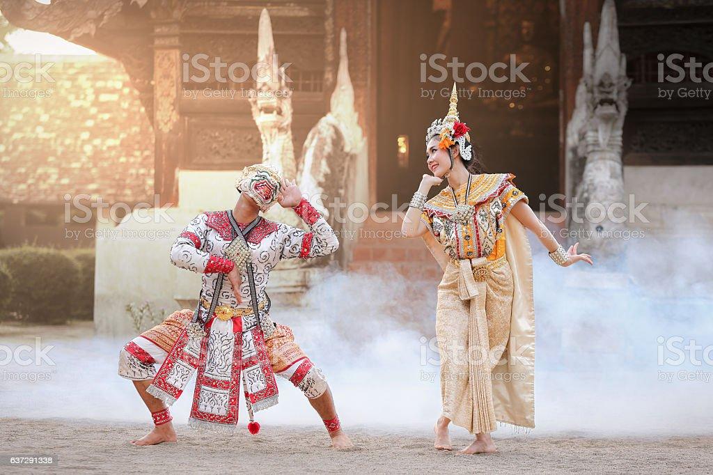 Hanuman and Suvannamaccha in Thai Ramayana stock photo