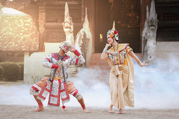 hanuman and suvannamaccha in thai ramayana - traditional ceremony stock pictures, royalty-free photos & images
