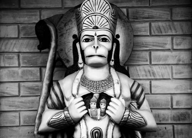 Hanuman showing lord Rama and Seeta Hindu God jai hanuman statue showing lord Rama and Seeta in his chest. hanuman stock pictures, royalty-free photos & images