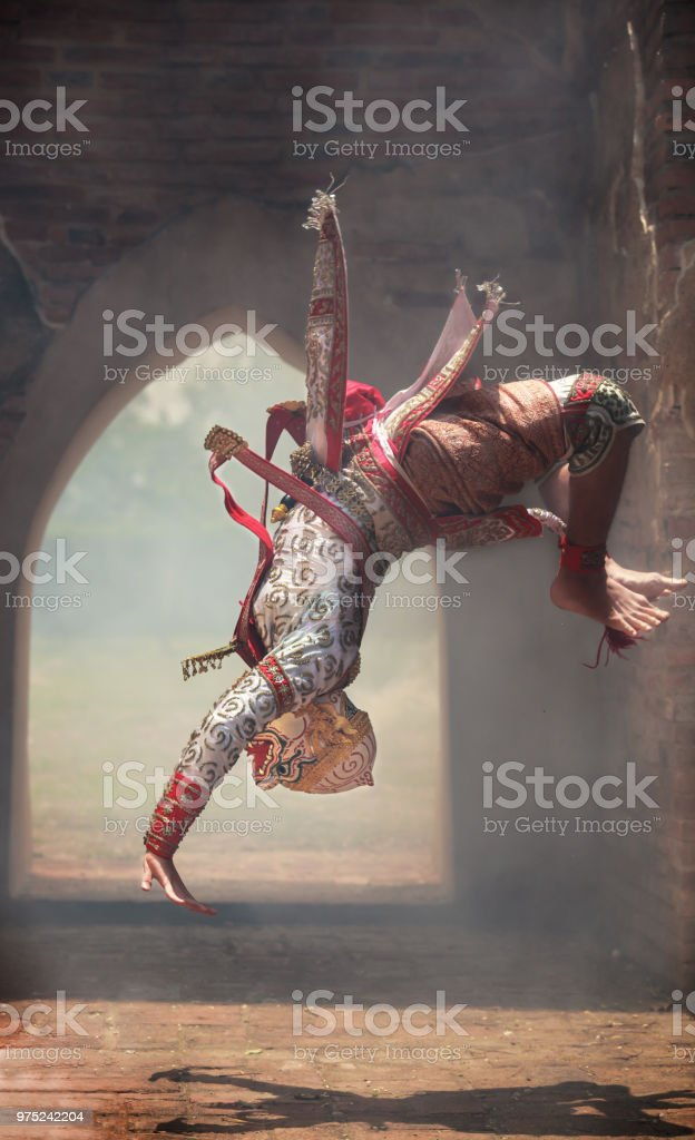 Hanuman Somersaults In Khon Or Traditional Thai Pantomime As