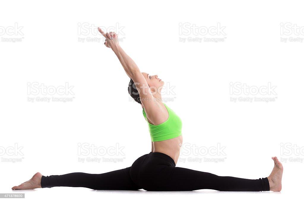 Hanumanasana yoga pose stock photo