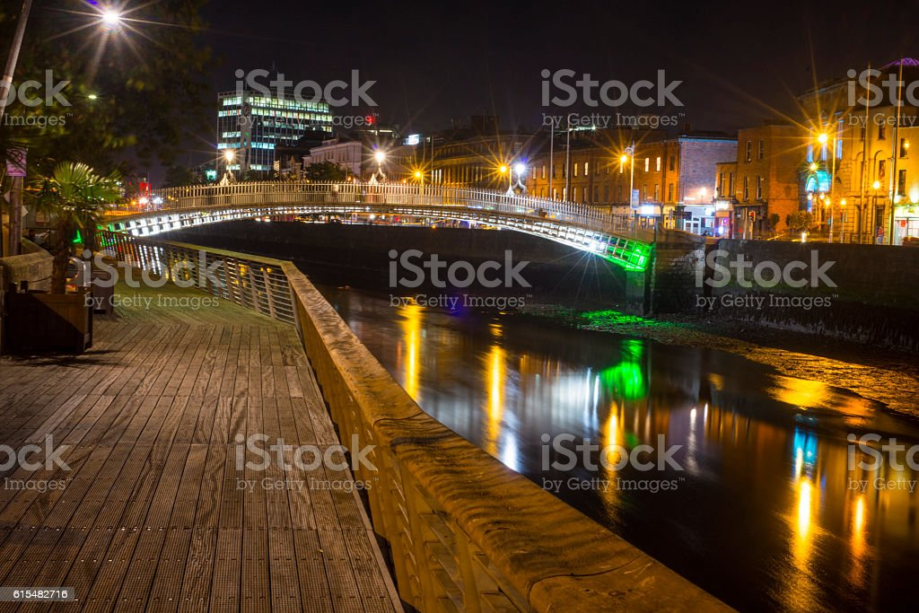Ha'penny Bridge and river Liffey stock photo