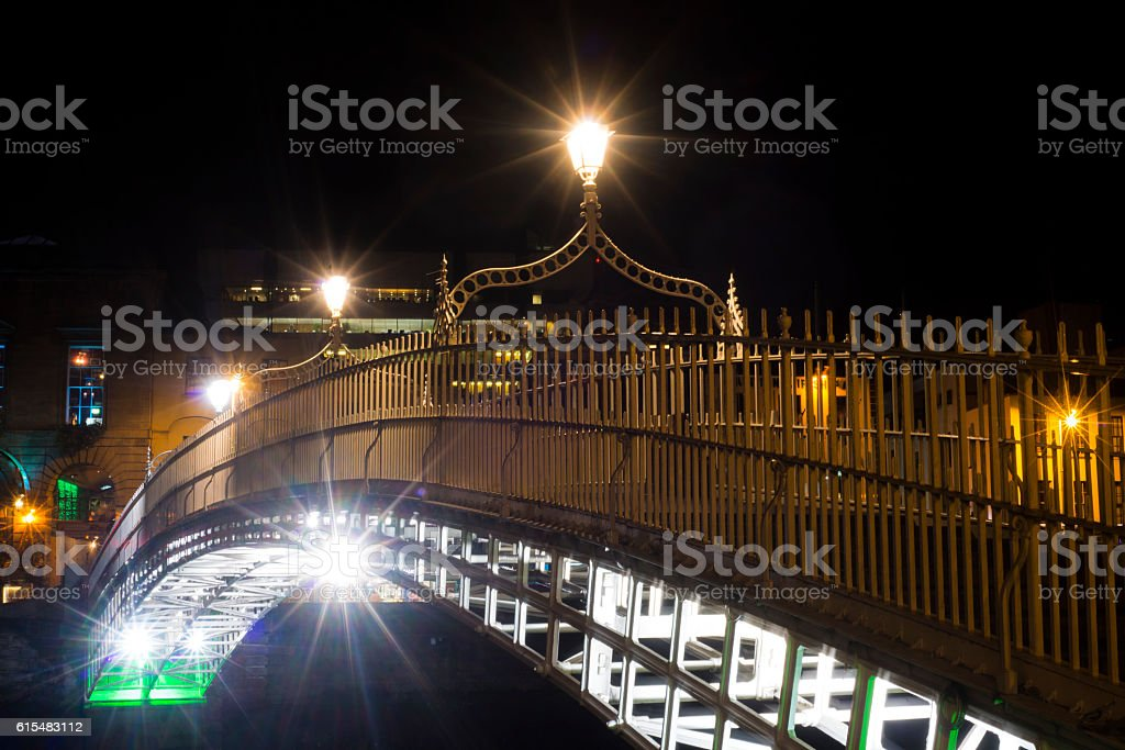 Ha'penny Bridge at night stock photo