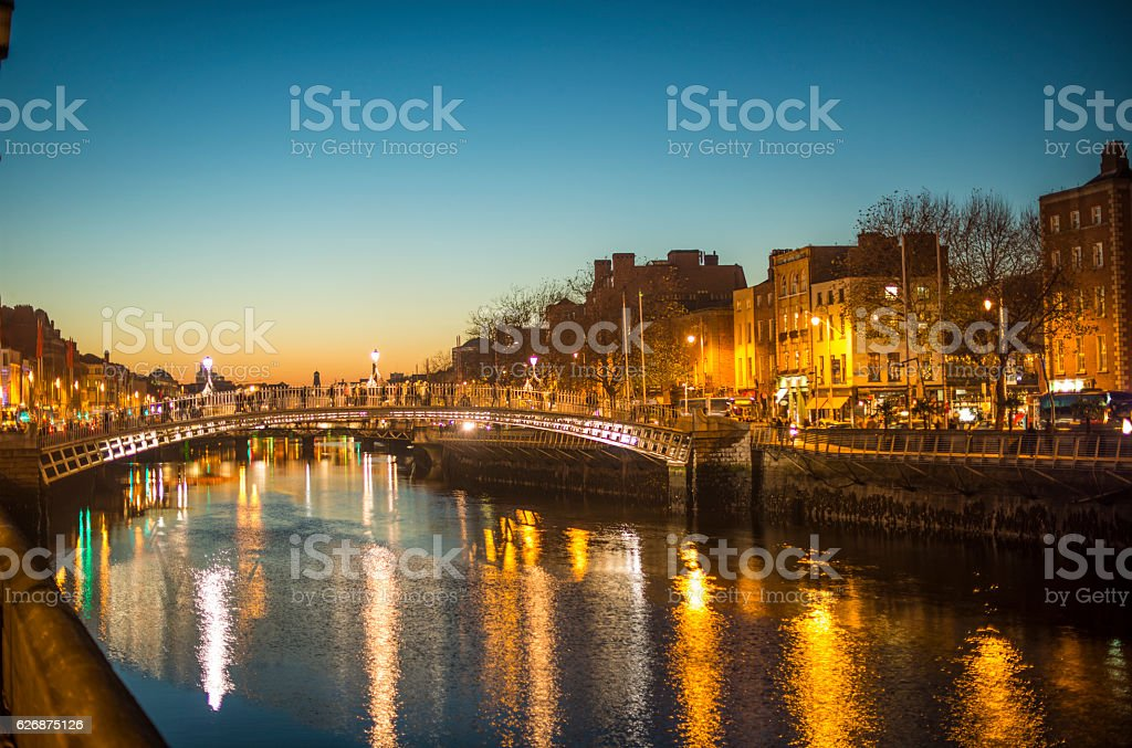 Ha'penny Bridge Dublin at dusk over the river Liffey, Dublin, Ireland. royalty-free stock photo