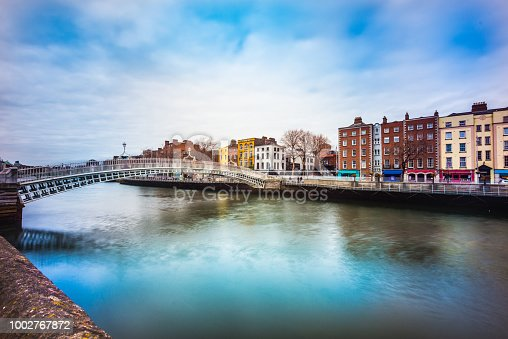 Old architecture in Dublin by the river Liffey