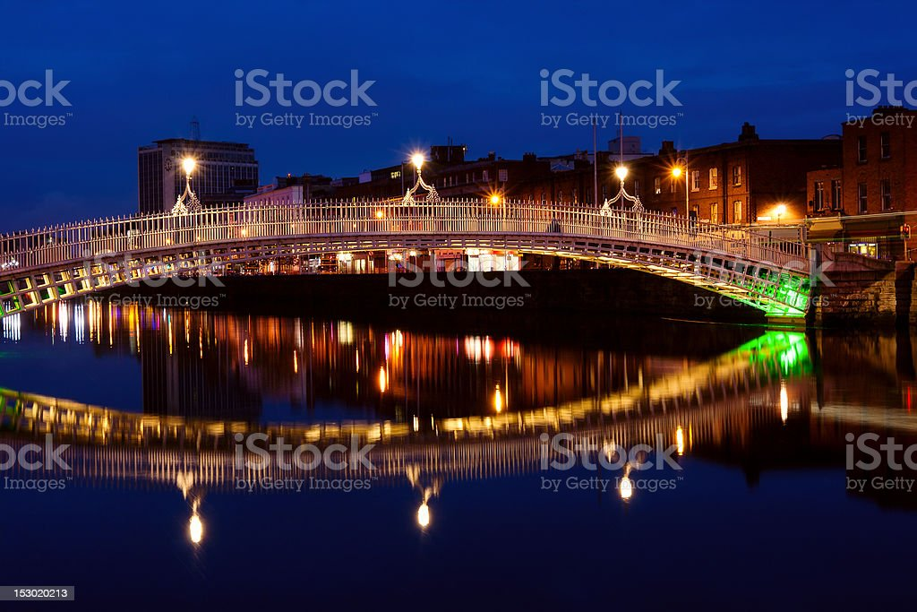 Ha'penny bridge in Dublin at night. Ireland stock photo