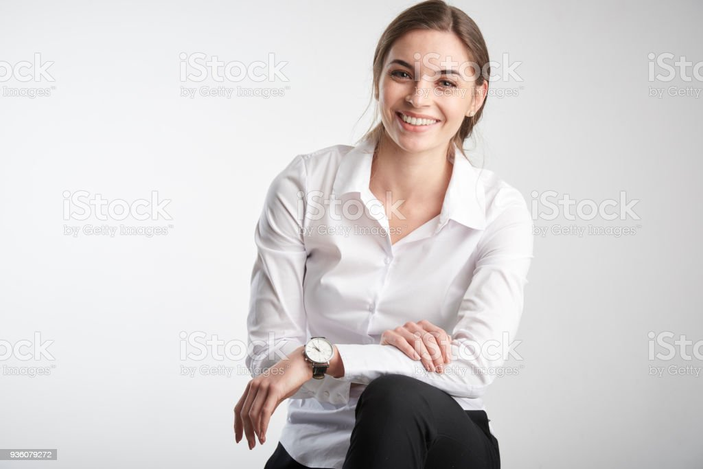 Happ young woman portrait стоковое фото