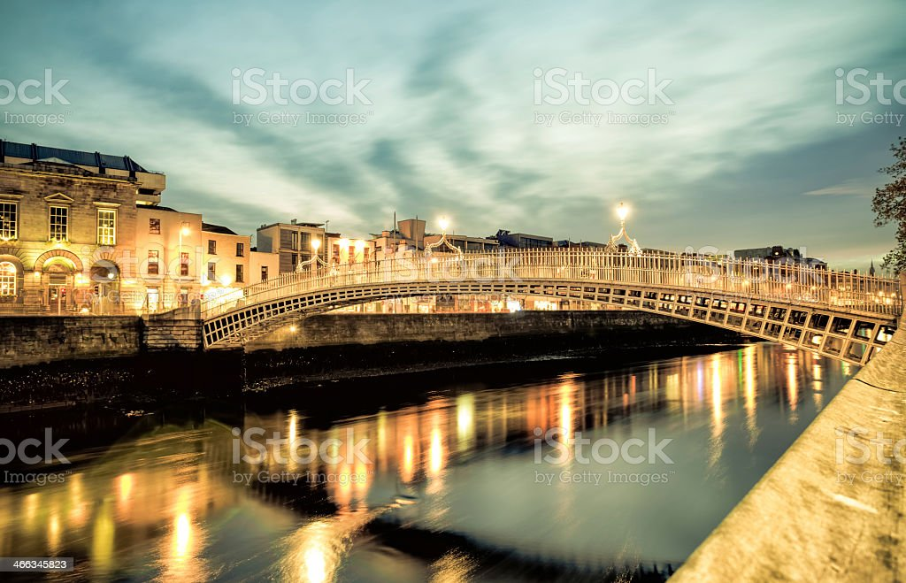 Happenny Bridge, Dublin lit up stock photo