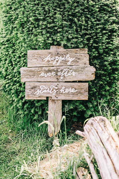 happily ever after starts here - wooden wedding sign - grüne zitate stock-fotos und bilder