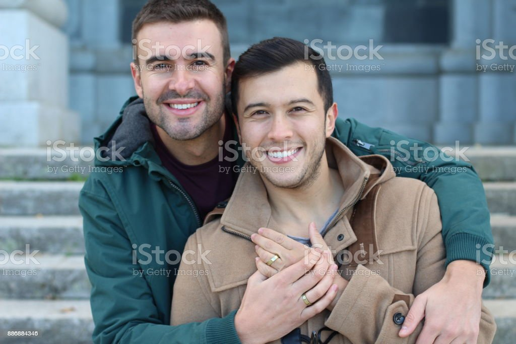 Happily married gay couple close up stock photo