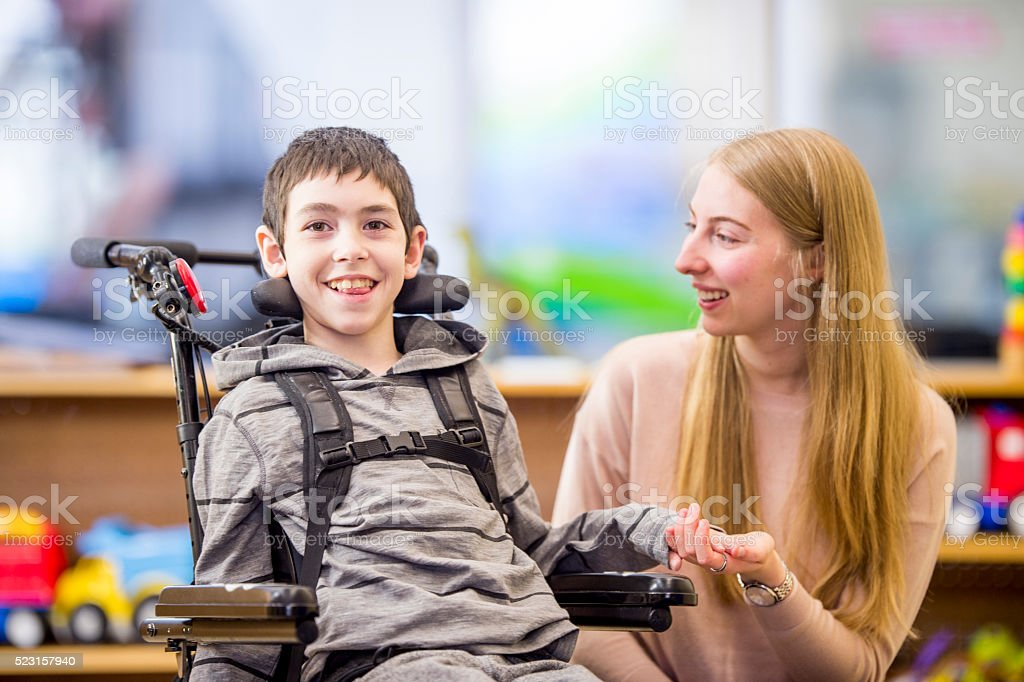 Happily Sitting in Class stock photo