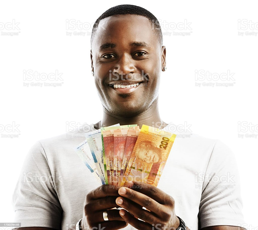 Happily smiling man holding mixed new South African