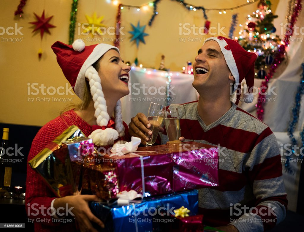 Happines Smile Family Couple With Christmas Gifts Stock Photo & More ...