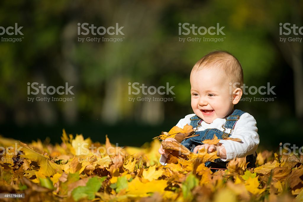 Happiness - baby in nature stock photo
