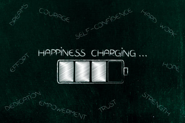 happiness charging battery with caption surrounded by elements to succeed stock photo