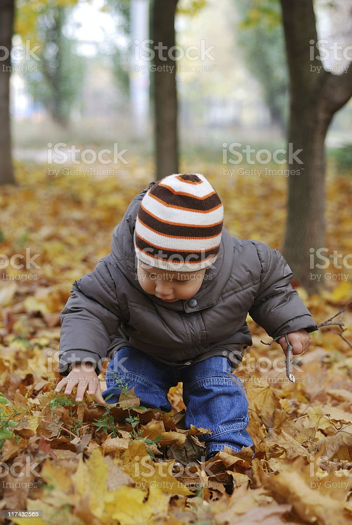 happiness child playing in forest royalty-free stock photo