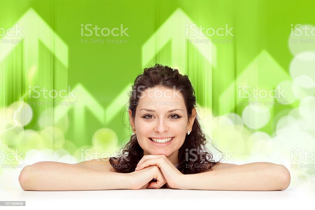 happiness concept with beautiful young girl smile green backgrou royalty-free stock photo