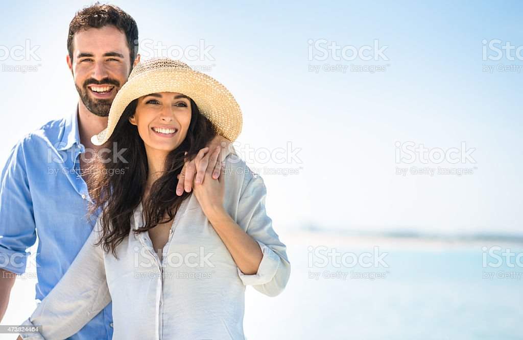 Happiness couple at the seaside stock photo
