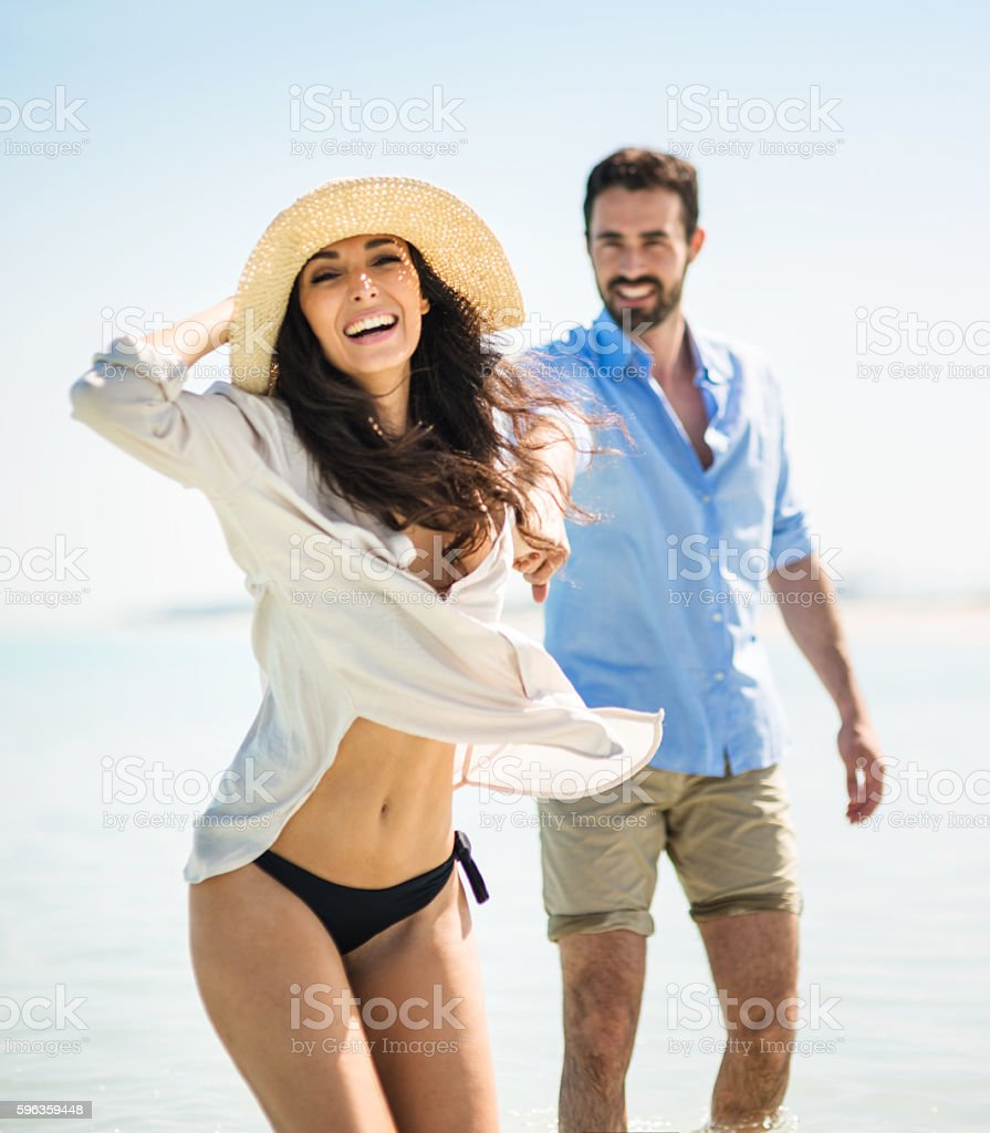 Happiness couple at the seaside royalty-free stock photo