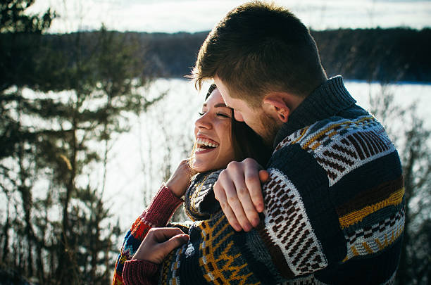 Happiness couple embraces. Young man hugs a girl. – Foto