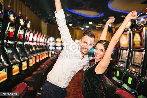 istock Happiness couple winning at Casino 537454731
