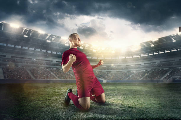 Happiness football player after goal on the field of stadium stock photo