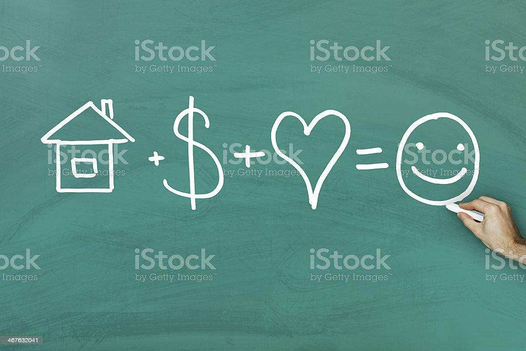 Happiness formula stock photo