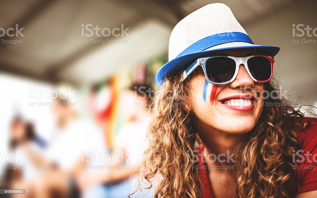 happiness french supporter woman at the stadium - foto de stock