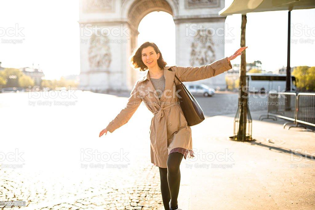 happiness french woman enjoying paris stock photo