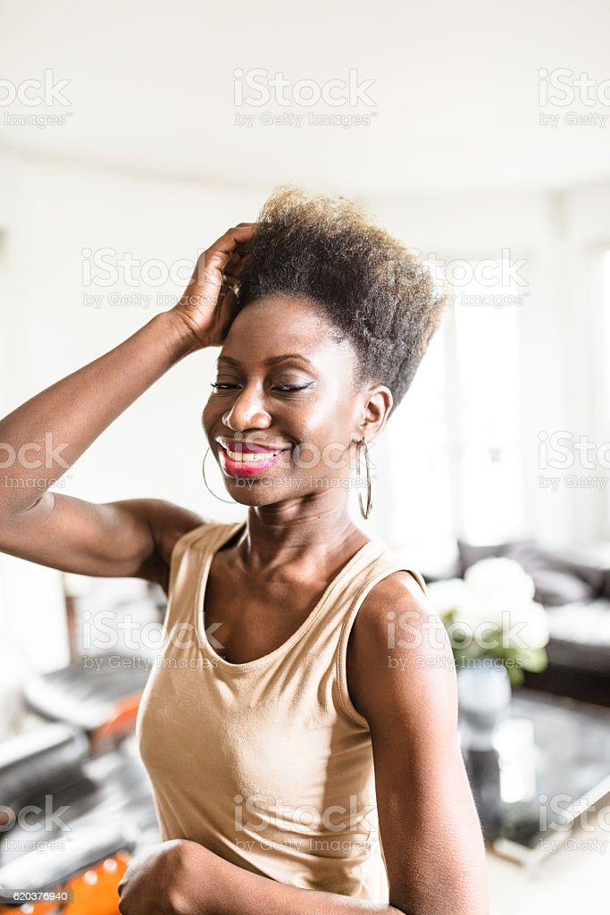 happiness french woman standing in the kitchen foto de stock royalty-free