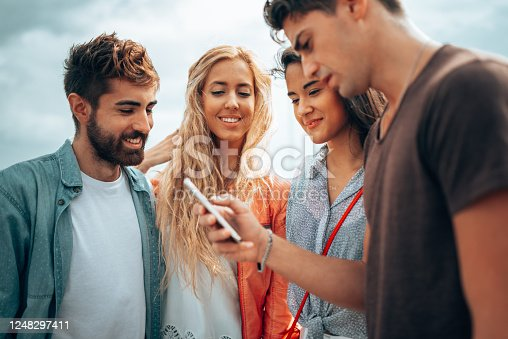 861023492 istock photo happiness friends taking a selfie embracing  outdoors 1248297411