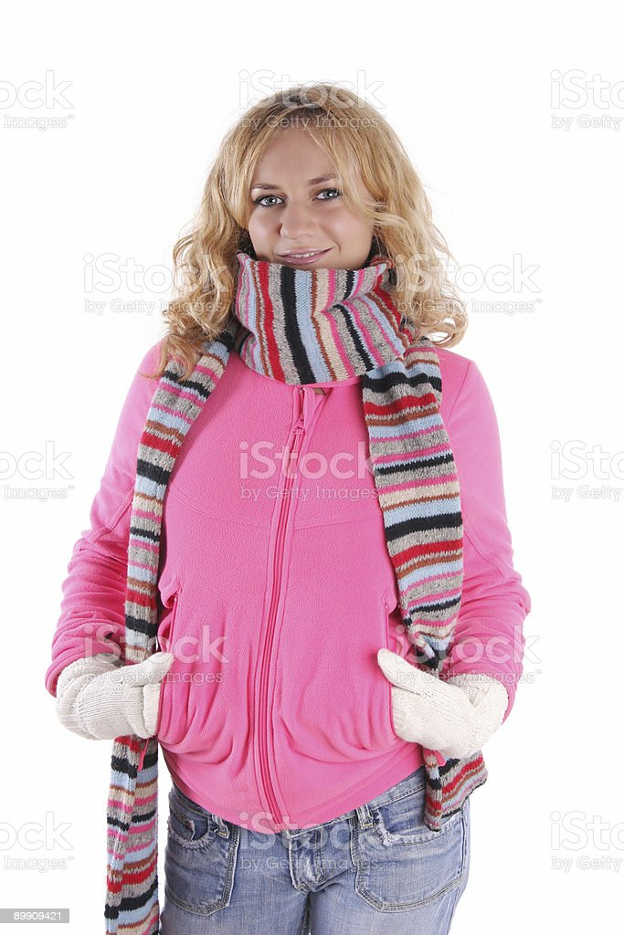 Happiness girl in warm clothes 3 royalty-free stock photo