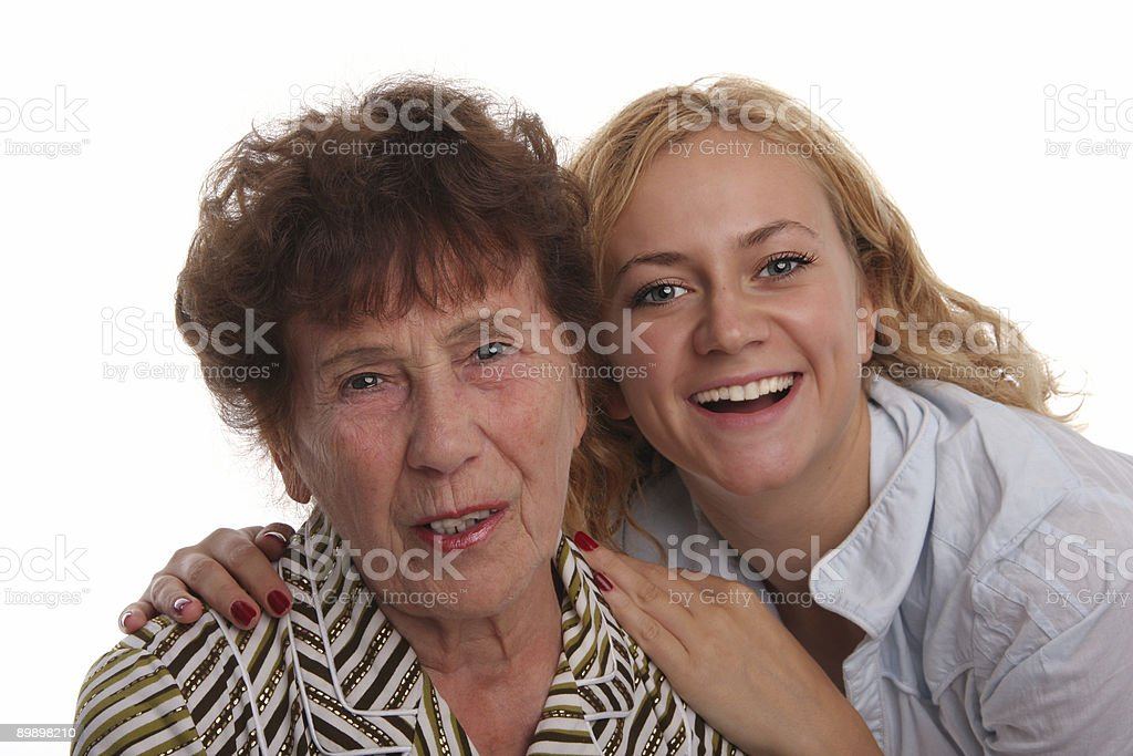 Happiness grandmother and granddaughter on a white background royalty-free stock photo