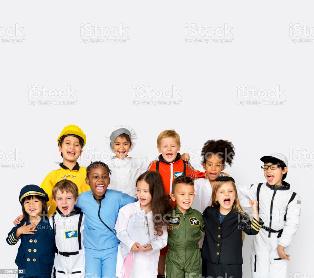 Happiness group of cute and adorable children with dream job stock photo