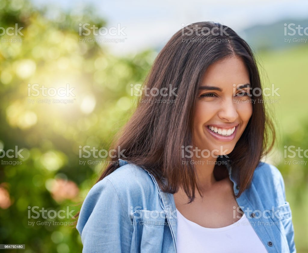 Happiness in her heart royalty-free stock photo