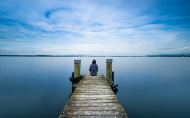 Happiness in Nature. Self-reflection, meditation. stock photo