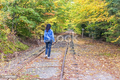Happiness in nature. Walking along an old railway.
