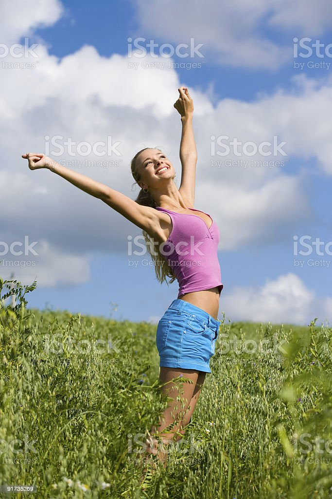 Happiness in the meadow royalty-free stock photo