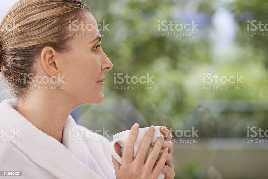 Happiness is a soothing cup of goodness stock photo