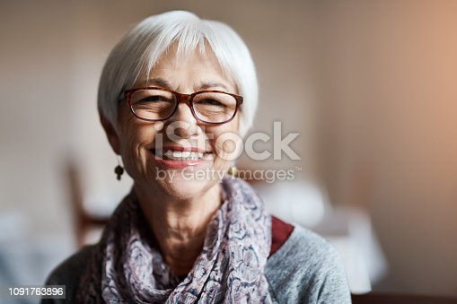 Portrait of a happy senior woman in a retirement home