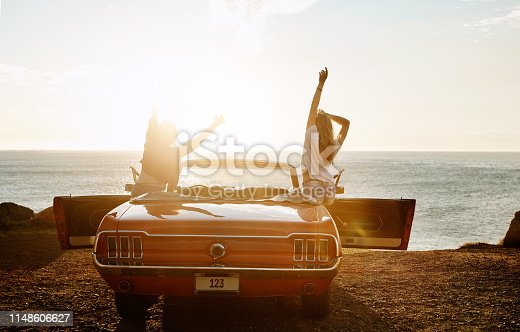 Shot of a two happy young women enjoying a summer's road trip together