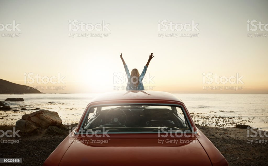 Happiness is reaching out eagerly for newer and richer experiences stock photo